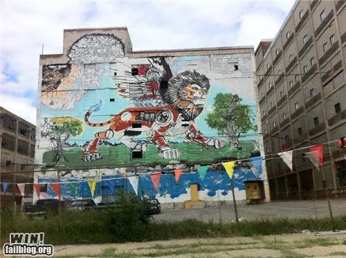 car detroit graffiti hacked irl lion Street Art transformer - 5065545216