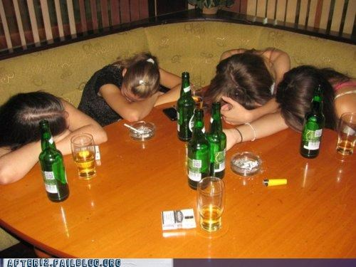 beer,face down,ko,ladies,passed out