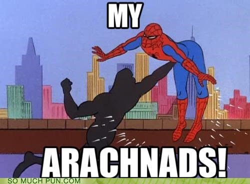 arachnid,literalism,nads,ow,painful,sac,similar sounding,slang,Spider-Man,Venom
