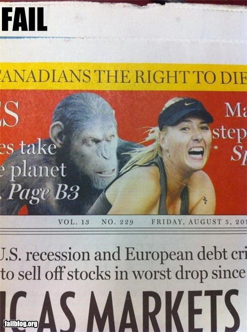 ape rape Maria Sharapova on the receiving end of a dirty stinking ape