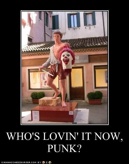 beheaded,caption contest,decapitated,Ronald McDonald,slogans,statues,venice