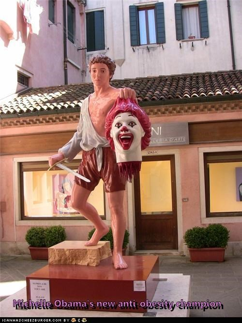 beheaded,caption contest,decapitated,Michelle Obama,obesity,Ronald McDonald,statues,venice