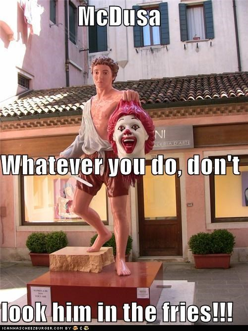 beheaded,caption contest,decapitation,medusa,puns,Ronald McDonald,statues,venice,winner