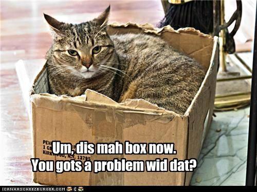 Um, dis mah box now. You gots a problem wid dat?