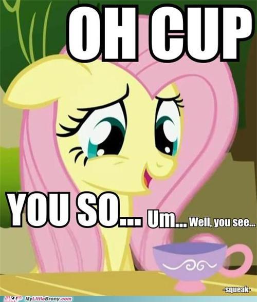 cup fluttershy ponies squeak tea