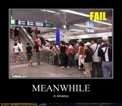america,escalator,hilarious,Meanwhile,stairs