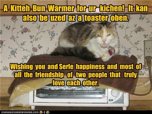 Wishing you and Serle happiness and most of all the friendship of two people that truly love each other. A Kitteh Bun Warmer for ur kichen! It kan also be uzed az a toaster oben.