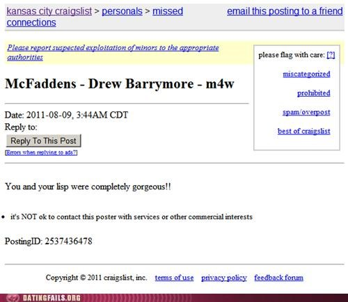 Not so funny Craigslist ad of someone making fun of Drew Barrymore's lisp.