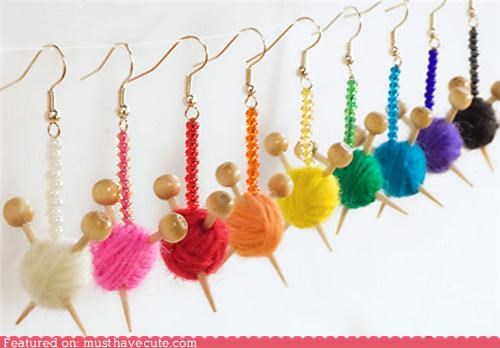 accessories ball earrings Jewelry knitting needles wood yearn