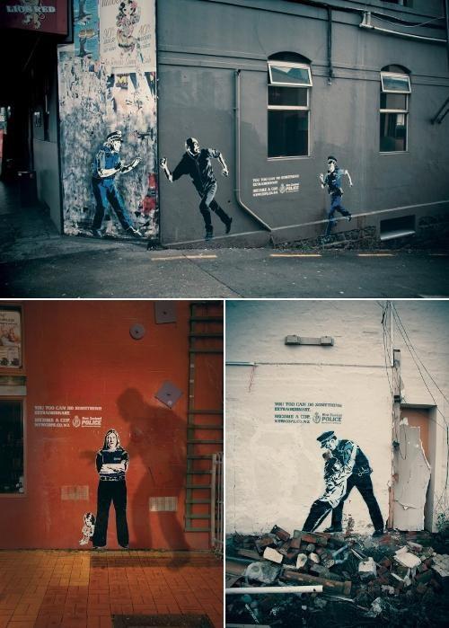 banksy Marketing Campaign New Zealand Police Street Art - 5068934400