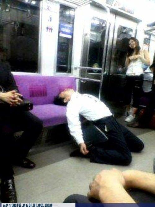 asia,bust a move,passed out,public transportation,train
