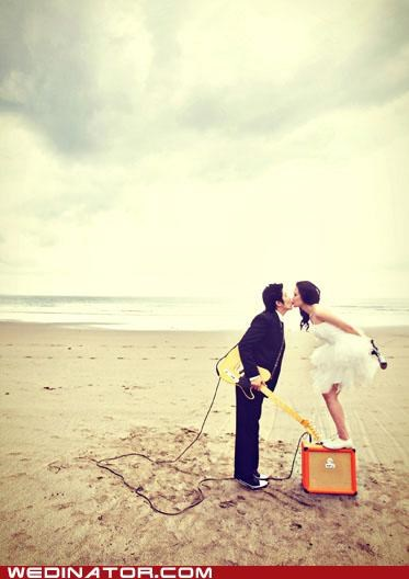 amp,beach,bride,funny wedding photos,groom,guitar