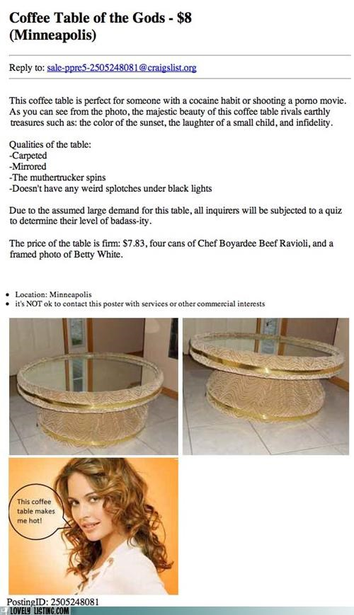 Ad,coffee table,craigslist