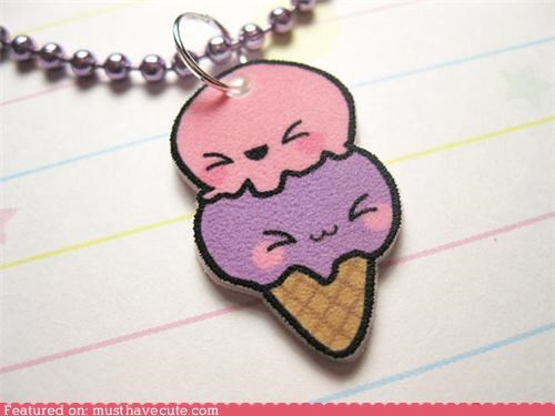 chain faces ice cream ice cream cone necklace pendant squee
