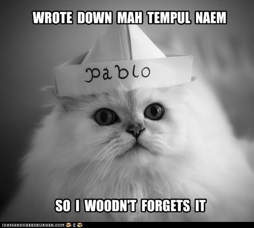 WROTE DOWN MAH TEMPUL NAEM SO I WOODN'T FORGETS IT