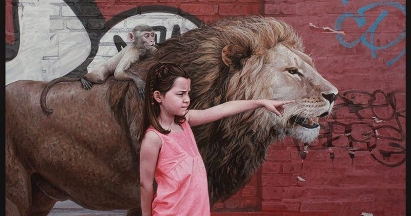 Surreal Paintings Of Kids And Wild Animals