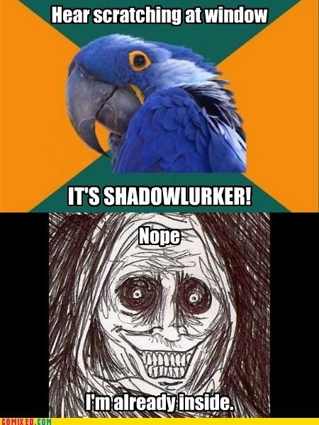 inside,Paranoid Parrot,scared of the dark,shadow lurker,the internets,too late