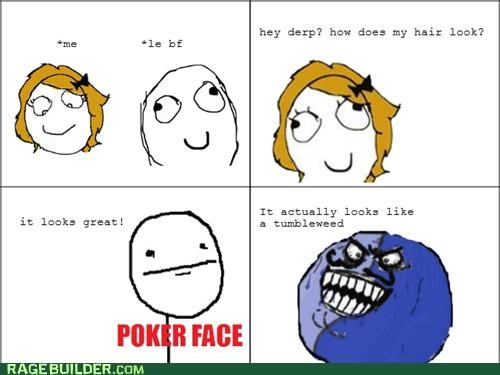 boyfriend hair i lied looks poker face Rage Comics - 5072537600
