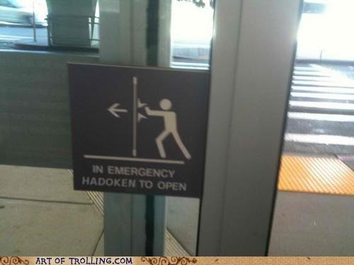 emergency hadoken IRL sign Street fighter
