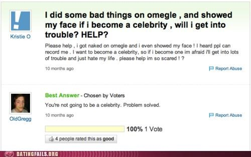 celeb Omegle We Are Dating yahoo answers - 5072710144