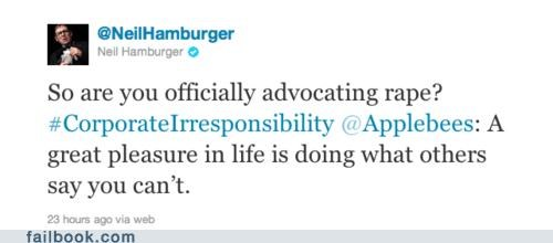 applebees,dark humor,marketing,neil hamburger,sexual assault,twitter,Twitter Troubles