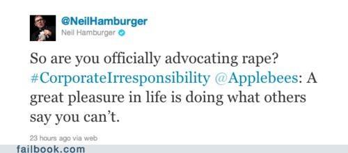 applebees dark humor marketing neil hamburger sexual assault twitter Twitter Troubles - 5072758016