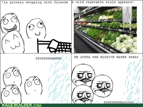 grocery store,me gusta,Rage Comics,shopping,store,vegetable aisle,water spray