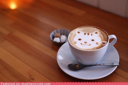 art,coffee,epicute,face,foam,kitty,latte,paw