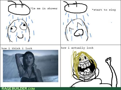 forever alone,Rage Comics,Sad,shower,sing