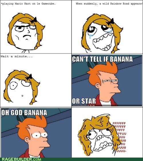 banana,fu gal,Mario Kart,Rage Comics,rainbow road,star