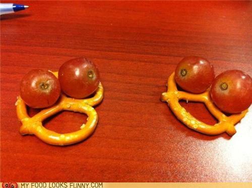 conversation faces grapes pretzels