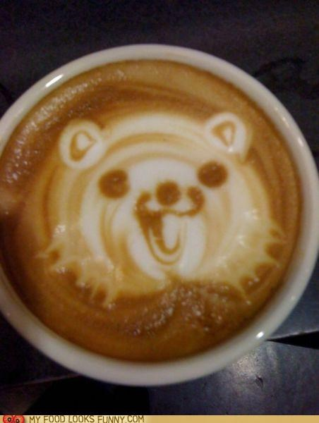 art coffee foam latte milk pedobear - 5073438720
