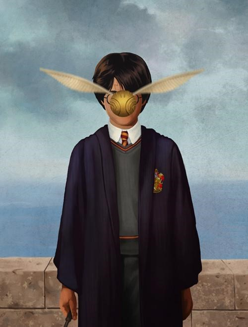 ben chen Fan Art golden snitch Harry Potter magic of man merch René Magritte son of man t shirts - 5073662464