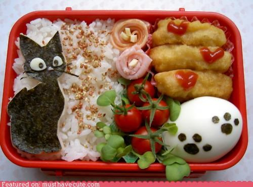 bento egg epicute kitty lunch meat rice veggies - 5073680896
