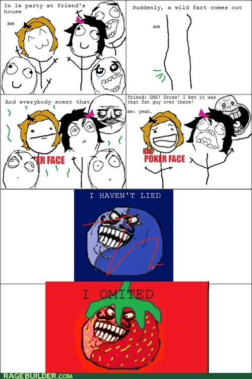 bad poker face blueberry man i lied Party Rage Comics strawverry guy truth - 5073725440