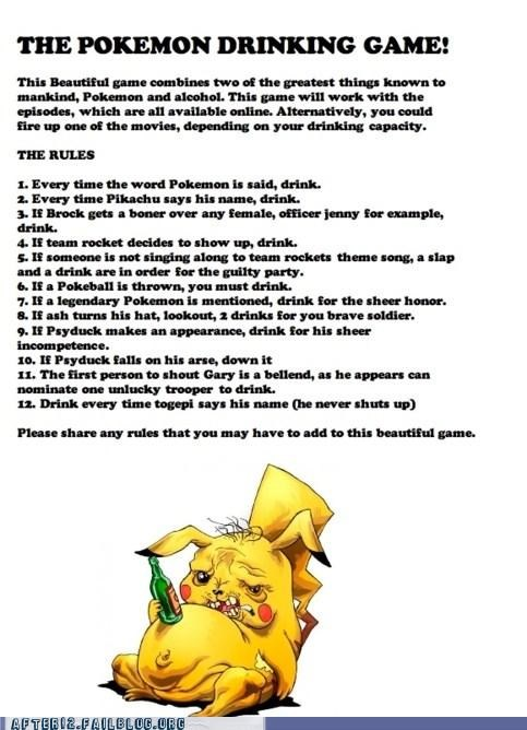 drinking game drunk pikachu Pokémon Team Rocket - 5073823744