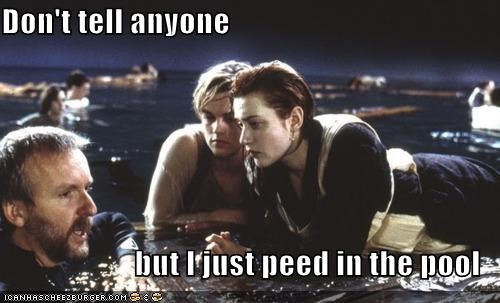 celeb,james cameron,kate winslet,leonardo dicaprio,movie set,movies,pee,pool,roflrazzi,titanic