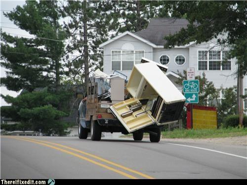 dangerous driving fridge moving day wtf - 5074689024