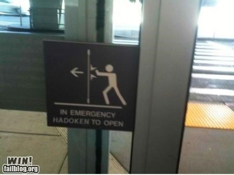 door,emergency,hadoken,nerdgasm,Office,sign,Street fighter