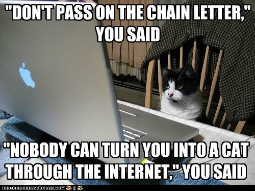 """DON'T PASS ON THE CHAIN LETTER,"" YOU SAID ""NOBODY CAN TURN YOU INTO A CAT THROUGH THE INTERNET,"" YOU SAID"