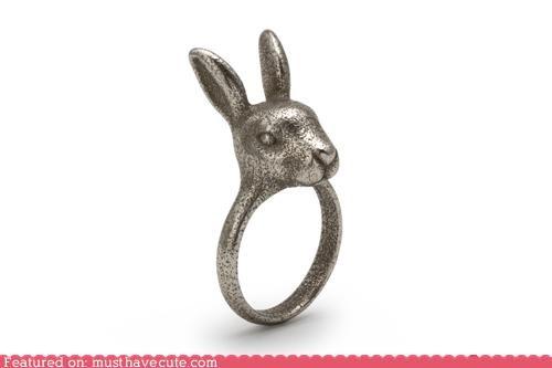 bunny ears Jewelry rabbit ring silver - 5075580160