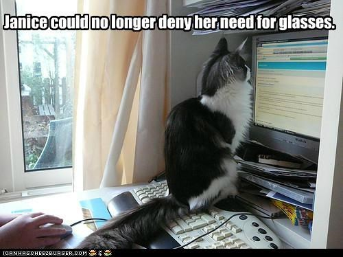 caption,captioned,cat,closeup,computer,deny,glasses,longer,need,no,screen,Staring