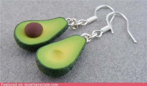 accessories,avocado,clay,earrings,fruit,miniature