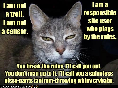 I am not a troll. I am not a censor. I am a responsible site user who plays by the rules. You break the rules, I'll call you out. You don't man up to it, I'll call you a spineless pissy-pants tantrum-throwing whiny crybaby.