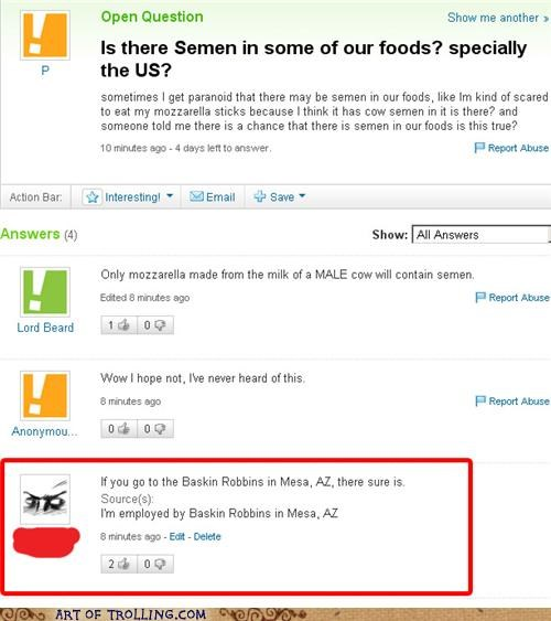 food,gross,ice cream,semen,Yahoo Answer Fails