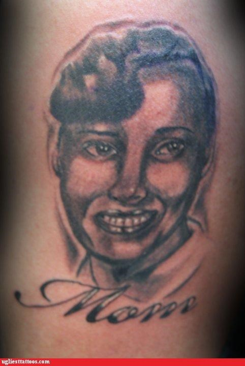 mom,portrait tattoo,smile,tribute