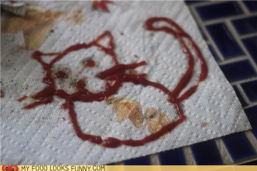 art,drawing,ketchup,kitty,paper towel