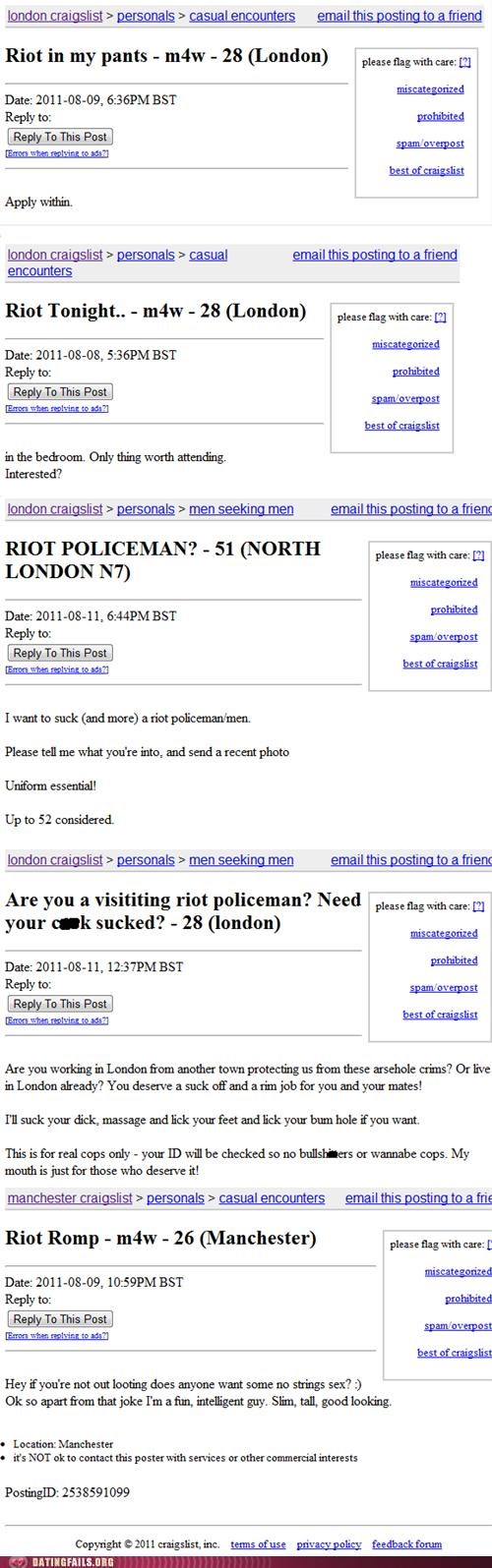 cops craigslist london riots missed connections riots We Are Dating - 5077236224