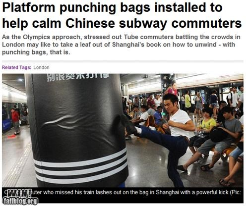 completely relevant news,let it out,punching bag,shanghai,stress relief,train