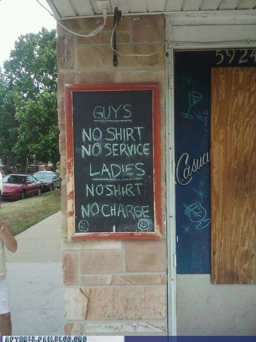 bar classy guys Hall of Fame ladies no shirt sexist sign